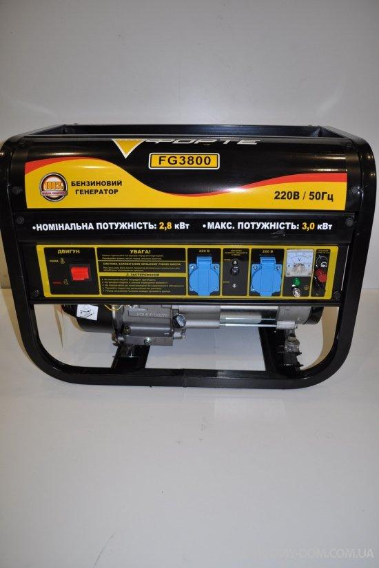 Генератор бензиновый FORTE (3 кВт, бак 15л, затраты топлива 550гр/кВт) арт.FG3800