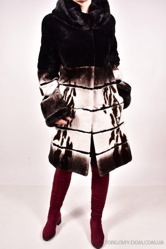 Шуба из меха бобра со вставками норки женская (объем 100см, длина 100см) Lilifur арт.3528