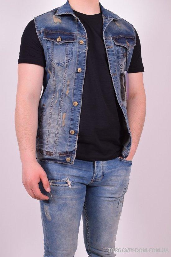 Жилетка джинсовая мужская (цв.синий) BigCastino (Cotton 95%,Lycra 5%) Размеры в наличии : 42,44,46 арт.2030