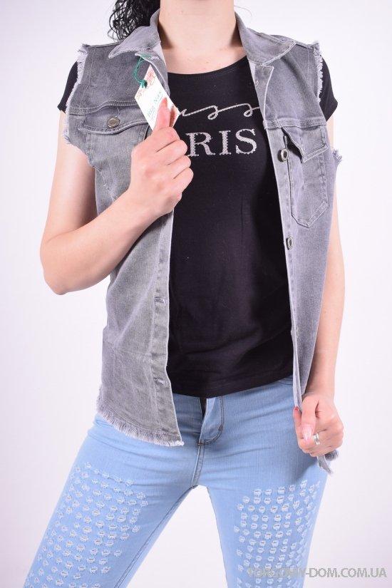 Жилетка женская джинсовая BIG NAS Размеры в наличии : 42,44,46,48 арт.180418/2