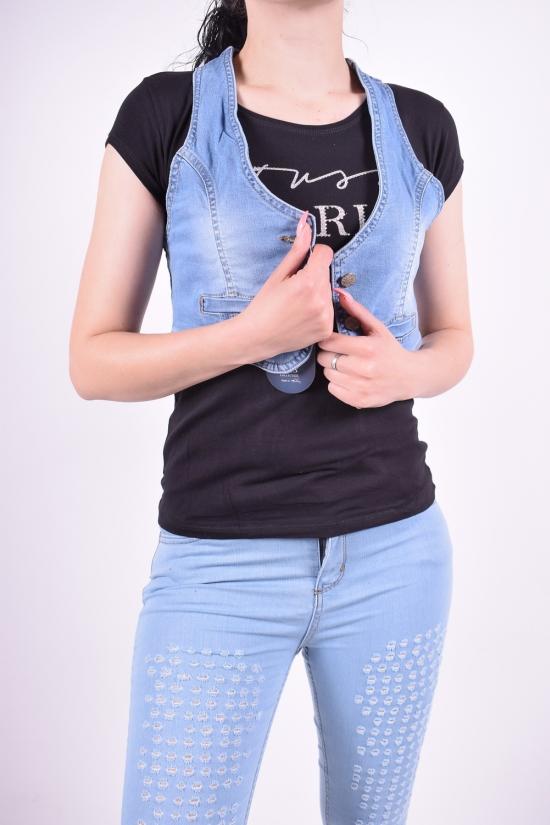 Жилетка-топ джинсовая стрейчевая женская OFIS Размеры в наличии : 40,42 арт.3610