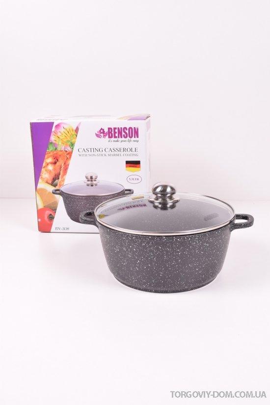 Кастрюля литая с антипригарным мраморным покрытием (3,5л) Benson арт.BN-308
