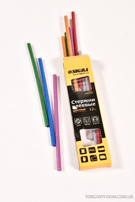 Стержни клеевые  8/200мм (цветные) Grad арт.2703151