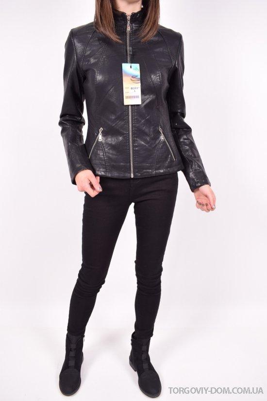 Куртка женская из кожезаменителя  демисезонная  (цв.черный) Размеры в наличии : 38,40 арт.B311
