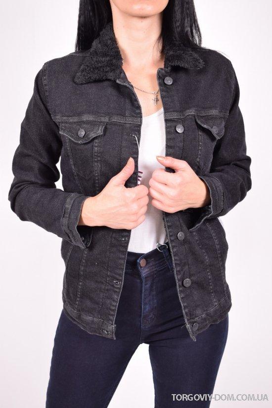 """Пиджак джинсовый женский (цв.черный) на меху """"ВIG NAS"""" Размеры в наличии : 38,40,42,44 арт.392"""