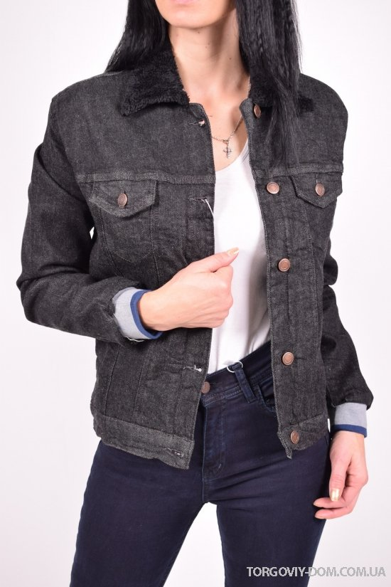 """Пиджак джинсовый женский (цв.черный) на меху """"ВIG NAS"""" Размеры в наличии : 36,38,40,42 арт.412"""
